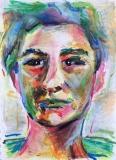 Portret met oliepastel door Annagreet Hoogeland