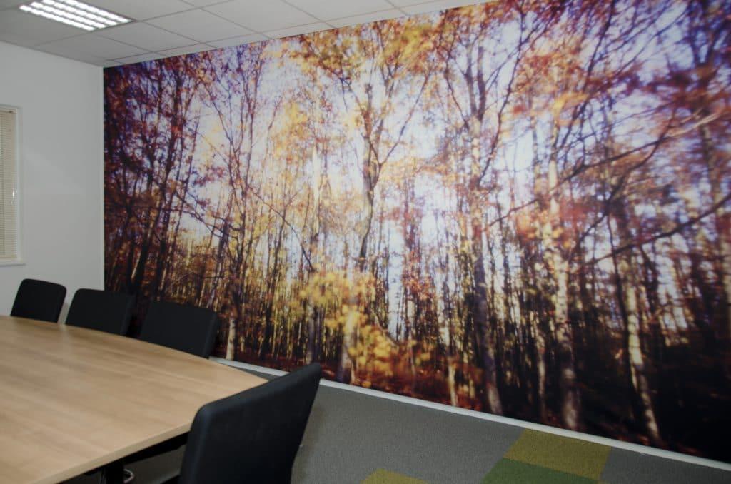 """De pinholefoto """"Herfstbos"""" geeft een warme uitstraling aan de ruimte"""